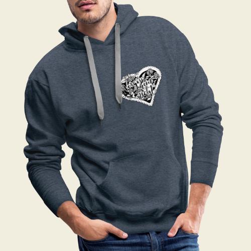 Vergissmeinnicht-Herz mit weißem Hintergrund - Männer Premium Hoodie
