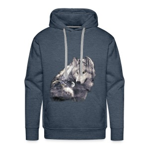 wolf and forest - Sudadera con capucha premium para hombre