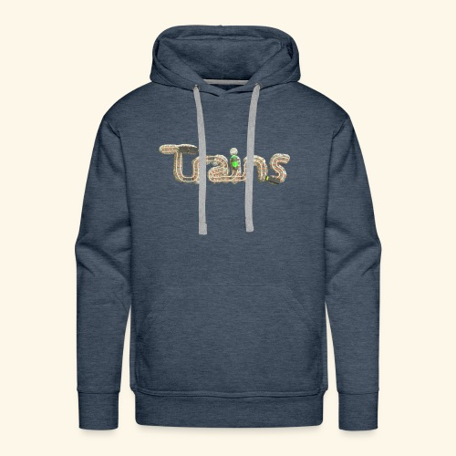 Colourful eagle eye's view of model trains - Men's Premium Hoodie