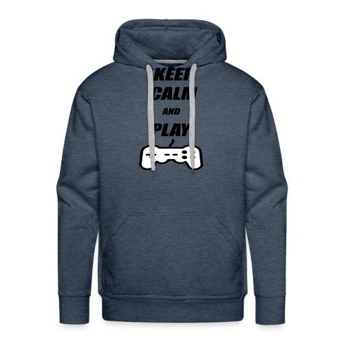 Maglietta Keep Calm And Play bianca. - Felpa con cappuccio premium da uomo