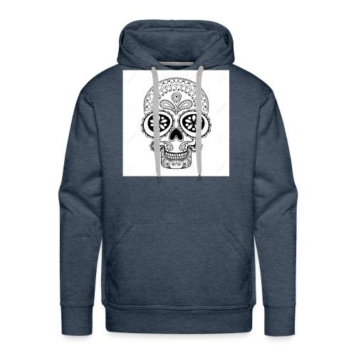 51457190 Disegno a mano Cranio in stile zentangle - Felpa con cappuccio premium da uomo