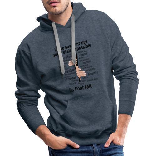Impossible et fait Hommes mains Fond Clair - Sweat-shirt à capuche Premium pour hommes