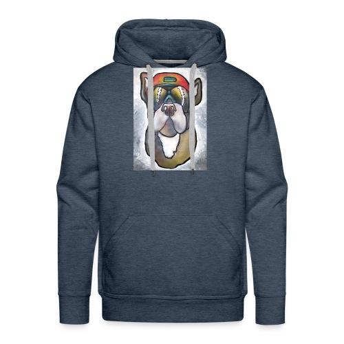 Bulldogge mit Sonnenbrille und Helm - Männer Premium Hoodie