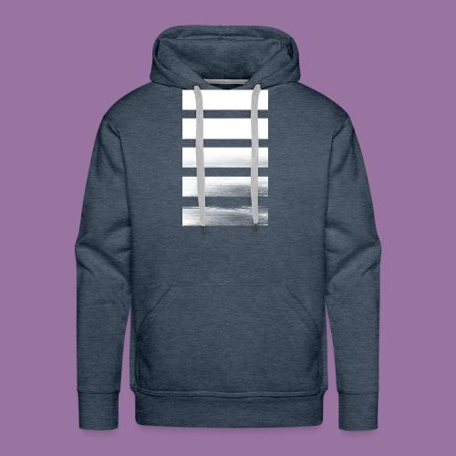 Stripes Horizontal White - Felpa con cappuccio premium da uomo