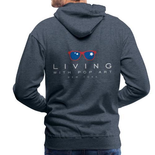 LIVING WITH POP ART BLANC - Sweat-shirt à capuche Premium pour hommes