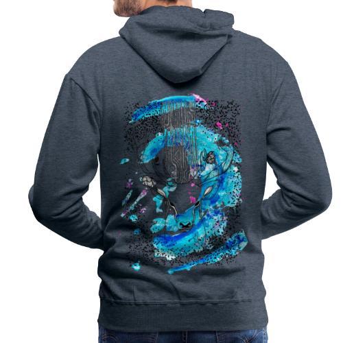 cerf aqua - Sweat-shirt à capuche Premium pour hommes