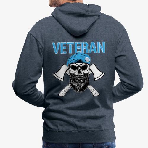 Veteran - Dödskalle med blå basker och yxor - Premiumluvtröja herr