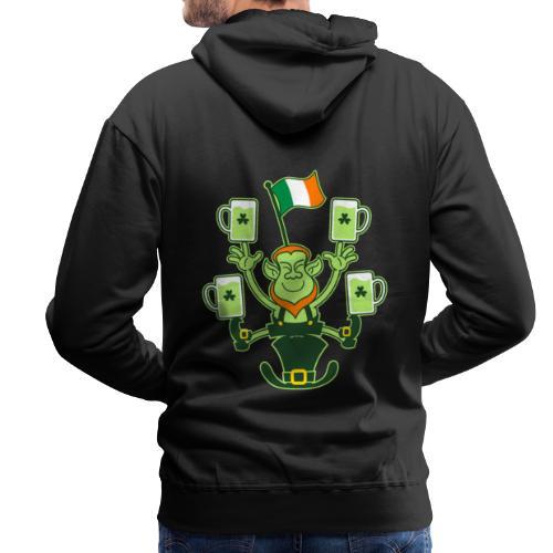 Leprechaun Juggling Beers and Irish Flag - Men's Premium Hoodie