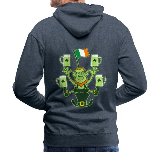 Leprechaun Juggling Beers and Irish Flag - Men's Premium Hoodie