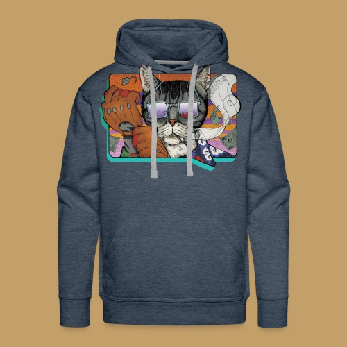 Crime Cat in Shades - Bluza męska Premium z kapturem