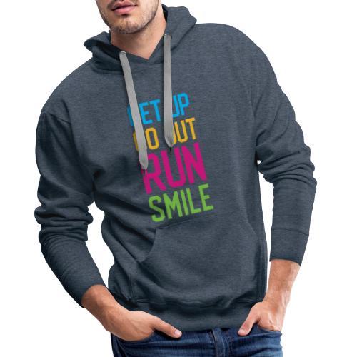 Get Up. Go Out. Run. Smile. - Bluza męska Premium z kapturem