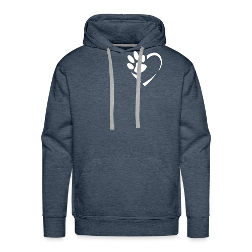 Pfote im Herz (weiß) - Männer Premium Hoodie