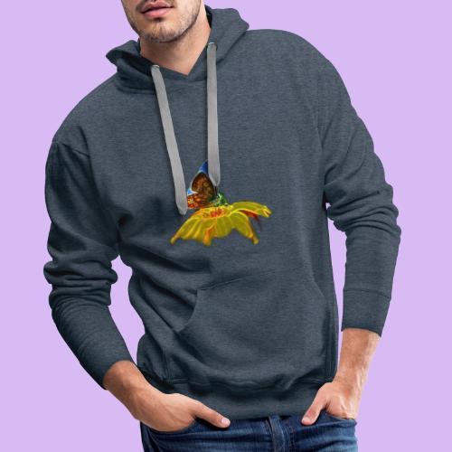 Farfalla su corolla - Felpa con cappuccio premium da uomo