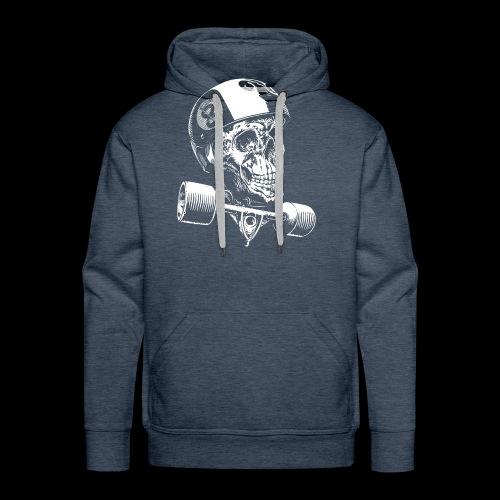 Skull Longboard Rider - negative print - Sweat-shirt à capuche Premium pour hommes