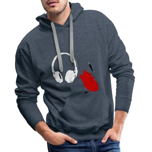 Heart beat. - Bluza męska Premium z kapturem