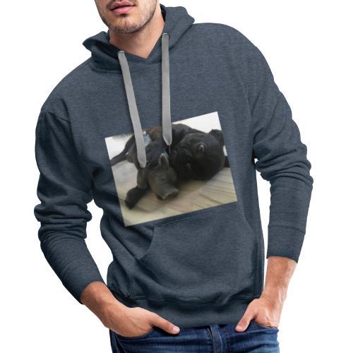 kuschelnder Hund - Männer Premium Hoodie