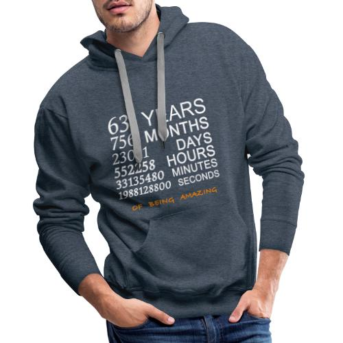 Anniversaire 63 years of being amazing - Sweat-shirt à capuche Premium pour hommes