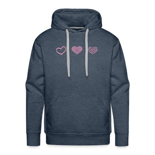 Rosa hjärtan söt motiv - Premiumluvtröja herr