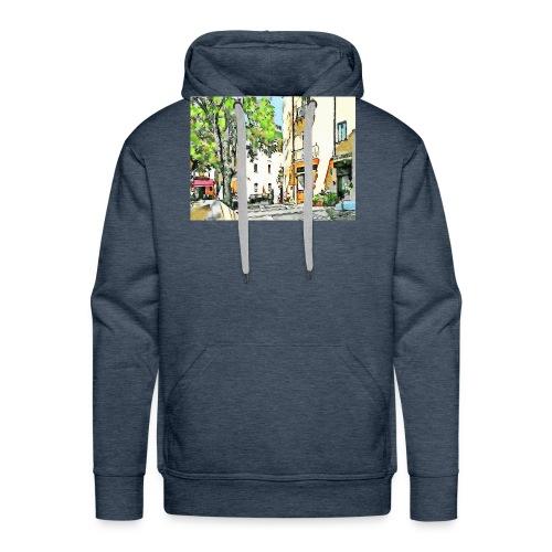 Tortora: scorcio con albero e negozi - Felpa con cappuccio premium da uomo