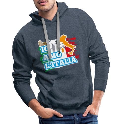 ITALY - Io Amo L'Italia - Felpa con cappuccio premium da uomo