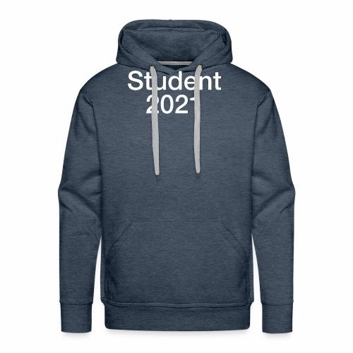 Student 2021 - hvidt tryk - Herre Premium hættetrøje