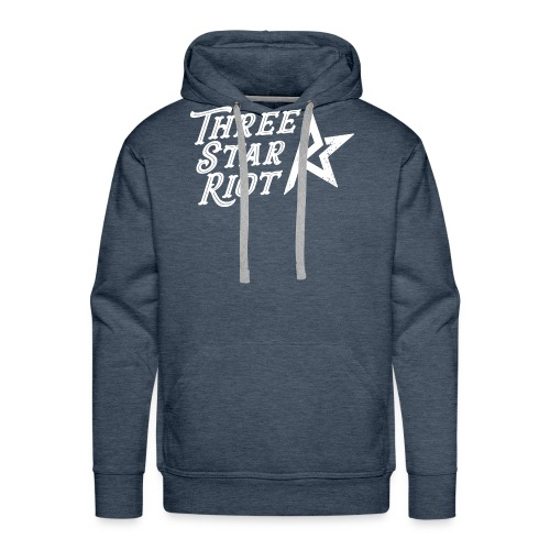 Three Star Riot logo vaalea - Miesten premium-huppari