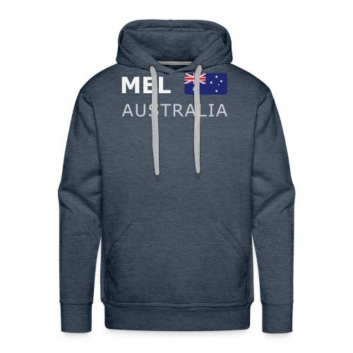 MEL AUSTRALIA white-lettered 400 dpi - Men's Premium Hoodie