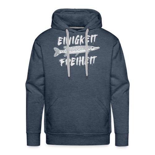 Einigkeit Hecht Freiheit - lustiges Angler Shirt - Männer Premium Hoodie