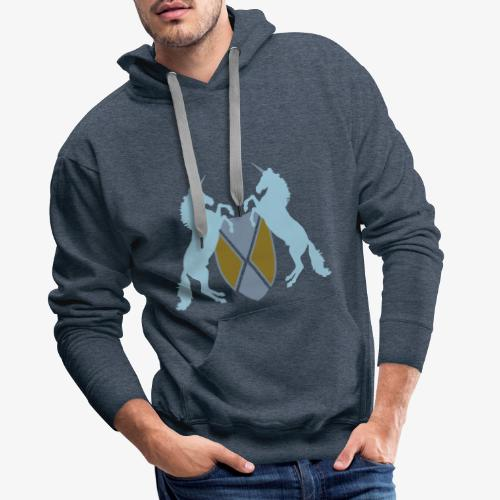 Unicorn Heraldry fantasy shield by patjila - Men's Premium Hoodie