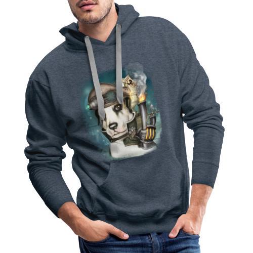 Steampunk Dog #2b - Felpa con cappuccio premium da uomo