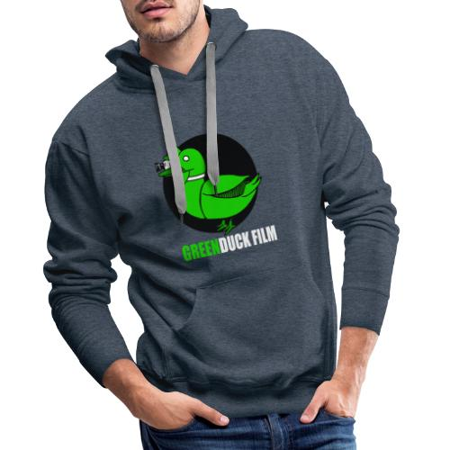 Greenduck Film white letters logo - Herre Premium hættetrøje