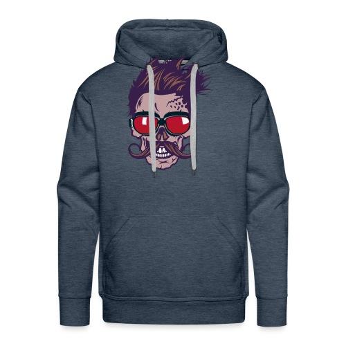 tete de mort hipster skull crane moustache lunette - Sweat-shirt à capuche Premium pour hommes