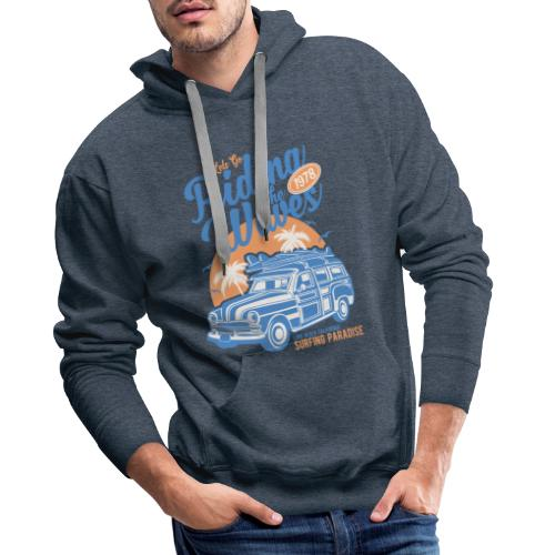 Surf Style T-shirt - Riding the Waves - Men's Premium Hoodie