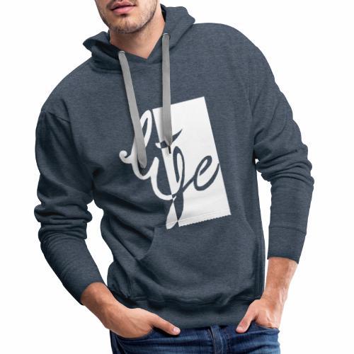 Life Logo 02 white - Sweat-shirt à capuche Premium pour hommes