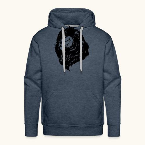 Lions tête fièrement élevés avec crinière noire - Sweat-shirt à capuche Premium pour hommes