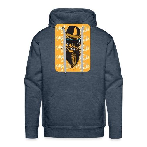 tete de mort crane hipster skull barbu moustache c - Sweat-shirt à capuche Premium pour hommes