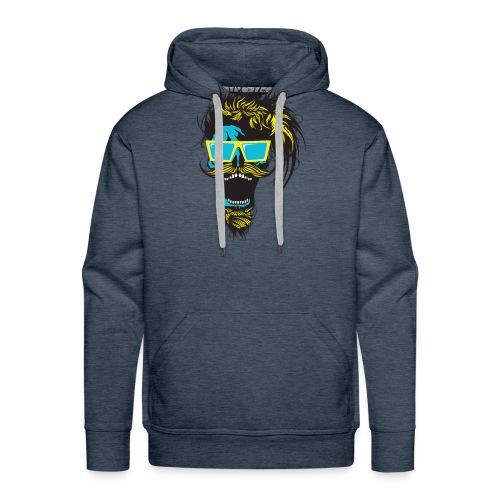 tete de mort hipster crane skull moustache barbe b - Sweat-shirt à capuche Premium pour hommes