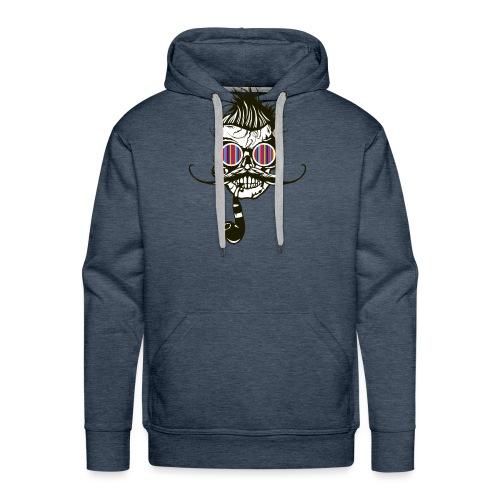 tete de mort hipster pipe crane skull coiffure pun - Sweat-shirt à capuche Premium pour hommes