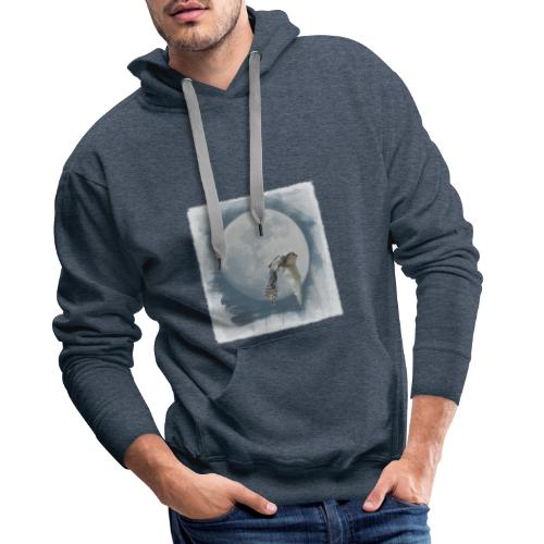 Flying owl full moon watercolor photo art - Men's Premium Hoodie