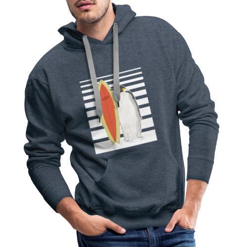 Pinguin mit Surfboard (Streifen) - Männer Premium Hoodie