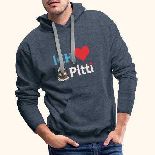 Pittiplatsch Ich liebe Pitti auf dunkel (blau/crem - Männer Premium Hoodie