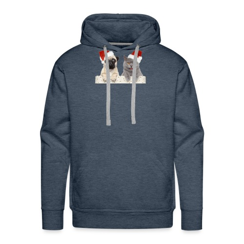 Cat and dog Christmas - Sweat-shirt à capuche Premium pour hommes