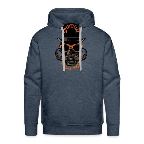 tete de mort hipster crane skull gangster moustach - Sweat-shirt à capuche Premium pour hommes