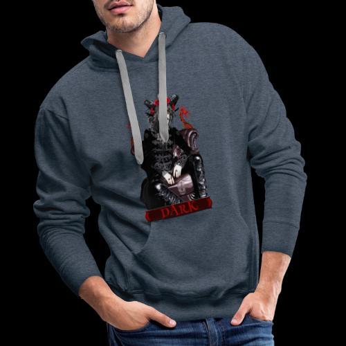 Créature gothique assise avec crânes et dragons - Sweat-shirt à capuche Premium pour hommes