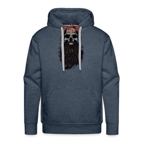 tete de mort hipster skull crane logo barbu barbe - Sweat-shirt à capuche Premium pour hommes