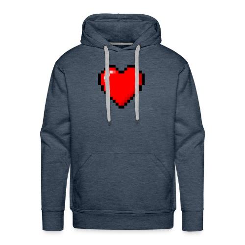 8bit heart - Felpa con cappuccio premium da uomo