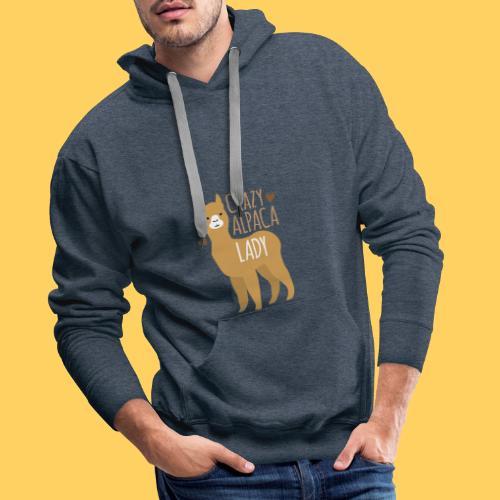 Crazy alpaca lady with love hearts - Men's Premium Hoodie
