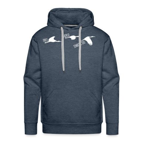 3 horizons oiseaux white - Sweat-shirt à capuche Premium pour hommes