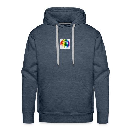 gay pride lgbt pride parade rainbow flag lip bite - Men's Premium Hoodie