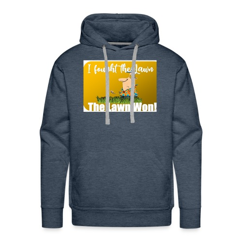 I fought the lawn cartoon - Men's Premium Hoodie